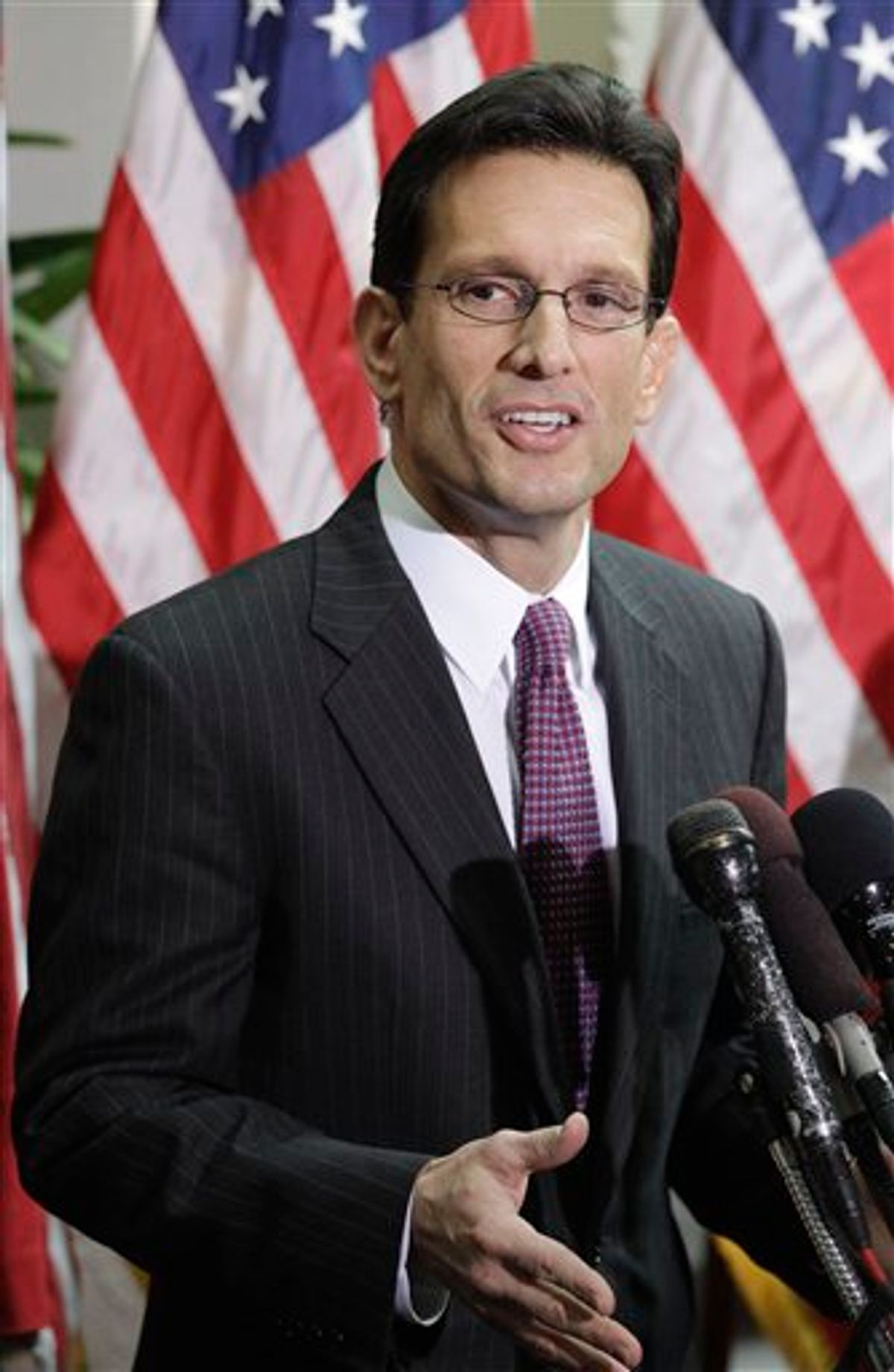 House Majority Leader Eric Cantor of Va., speaks to reporters on Capitol Hill in Washington, Tuesday, Jan. 25, 2011, after a closed GOP caucus meeting ahead of President Barack Obama's State of the Union speech. (AP Photo/Charles Dharapak)  (AP)