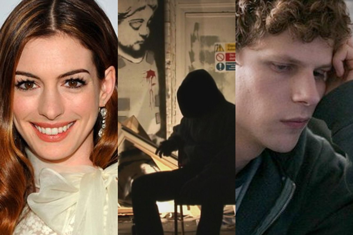 """Anna Hathaway and stills from """"Exit Through The Gift Shop"""" and """"Social Network"""""""