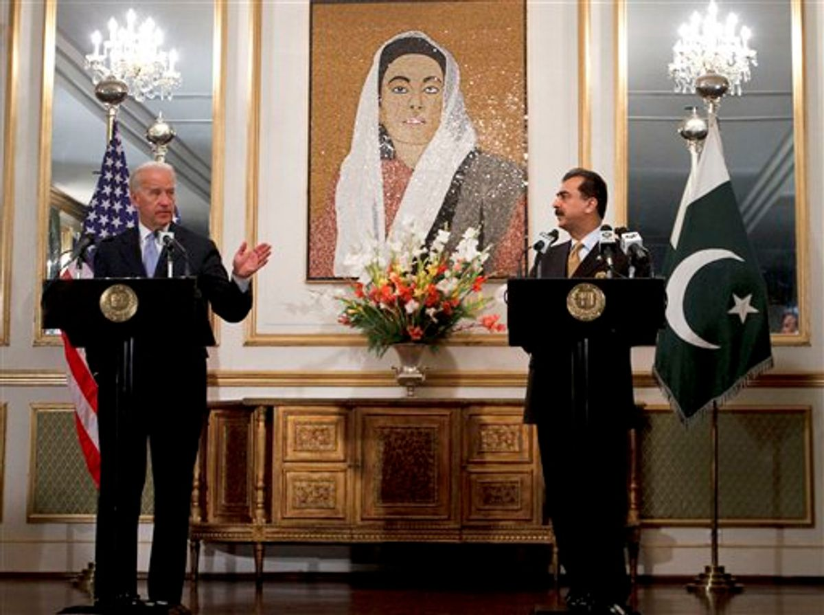 U.S. Vice President Joe Biden, left, gestures as Pakistani Prime Minister Yusuf Raza Gilani, right, looks on during a joint press conference at Prime Minister's residence in Islamabad, Pakistan on Wednesday, Jan. 12, 2011. Biden met with Pakistan leaders as part of American efforts to get Islamabad to intensify the fight against Islamist militants sheltering along the Afghan border. (AP Photo/Anjum Naveed)  (AP)
