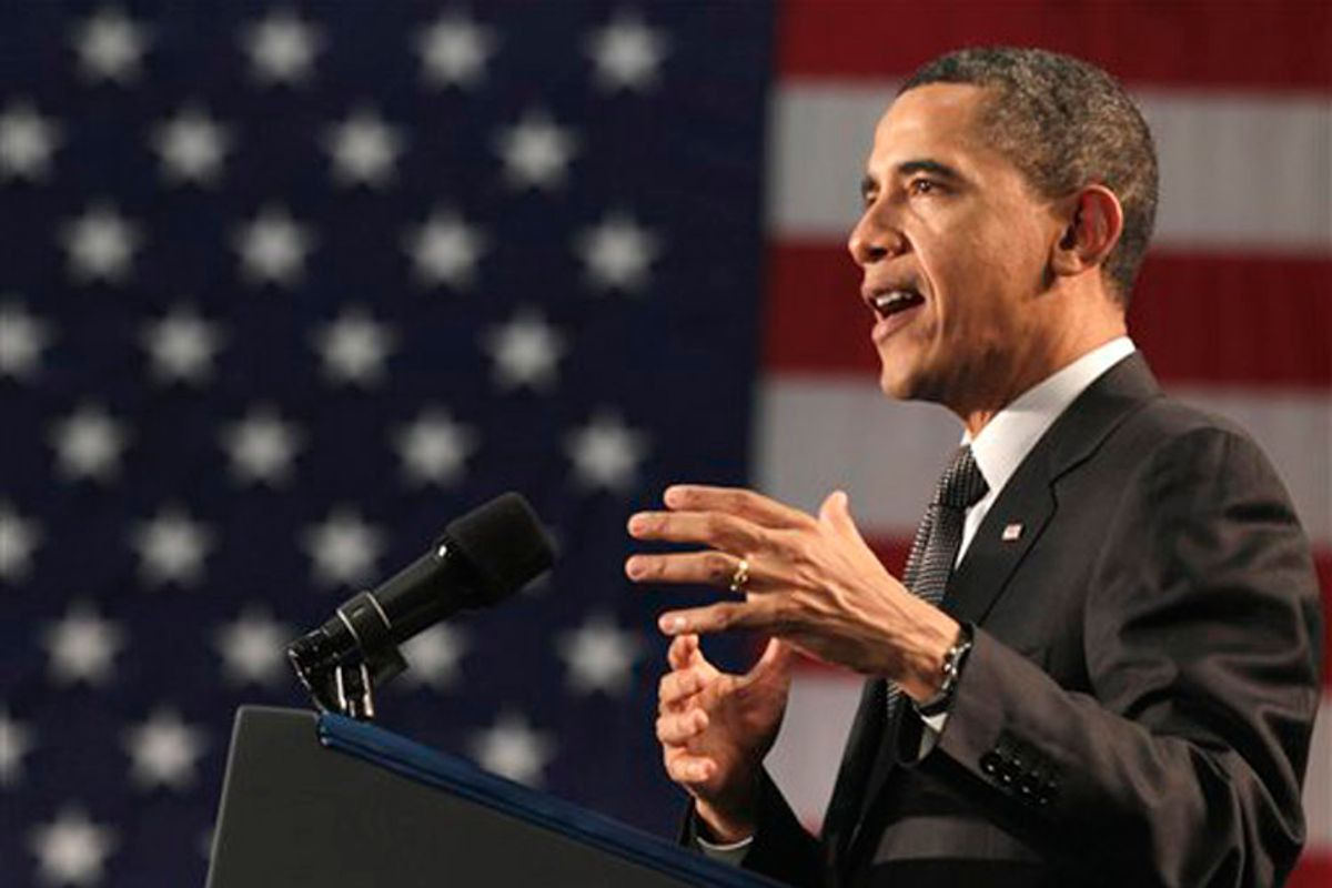 President Barack Obama speaks at the Winning the Future Forum on Small Business at Cleveland State University in Cleveland, Tuesday, Feb. 22, 2011.  (AP Photo/Carolyn Kaster) (Carolyn Kaster)