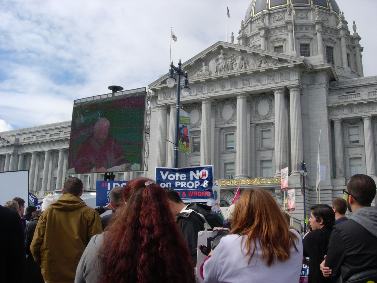 Prop 8 protesters gather outside the California Supreme Court in San Francisco to watch proceedings in 2009.