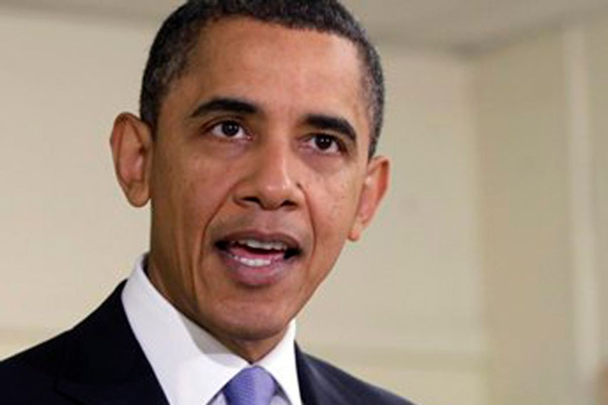 President Barack Obama speaks at Parkville Middle School and Center of Technology, in Parkville, Md., Monday, Feb., 14, 2011. (AP Photo/Carolyn Kaster) (Carolyn Kaster)
