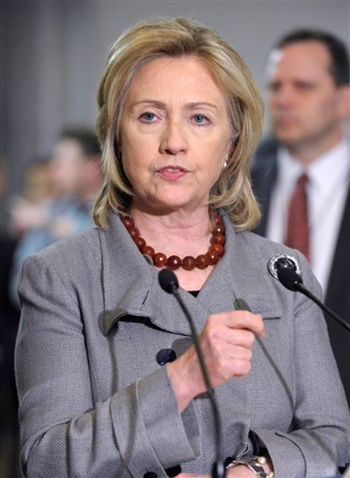 Secretary of State Hillary Rodham Clinton speaks to reporters on Capitol Hill in Washington, Thursday, Feb. 17, 2011, following an all-Senators meeting on Egypt. (AP Photo/Susan Walsh) (AP)