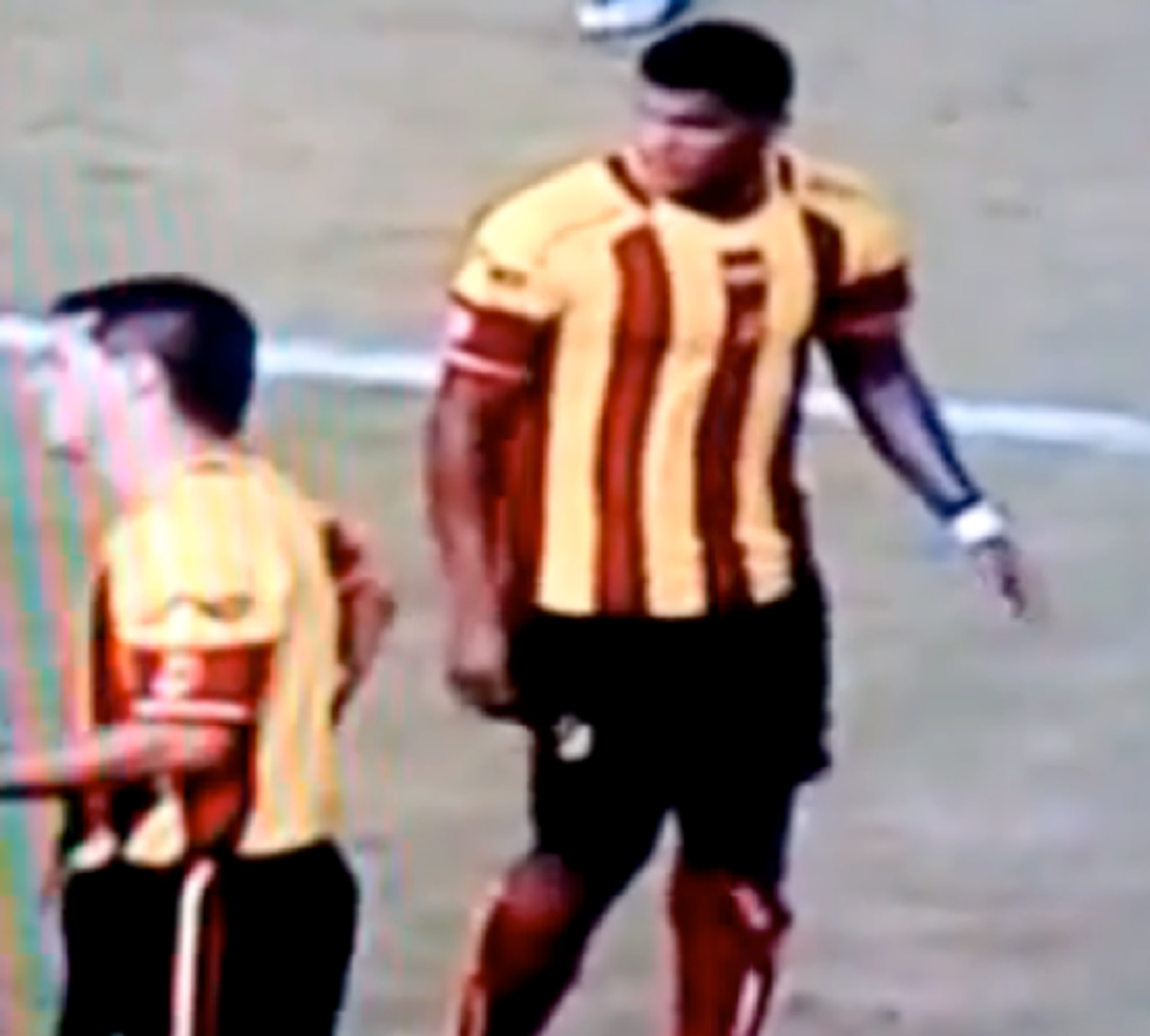 Luis Moreno continues the game after kicking an owl, the mascot and lucky charm of the opposing team, off the field