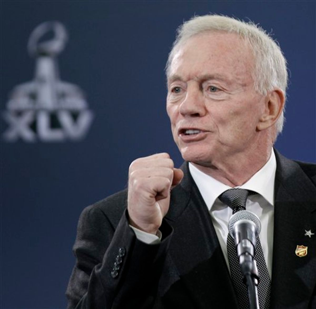 Dallas Cowboys owner Jerry Jones talks about his team during a news conference Tuesday, Feb. 1, 2011, in Dallas. The Pittsburgh Steelers will play the Green Bay Packers in Super Bowl XLV at Cowboys Stadium Sunday, Feb. 6, 2011. (AP Photo/David J. Phillip) (AP)