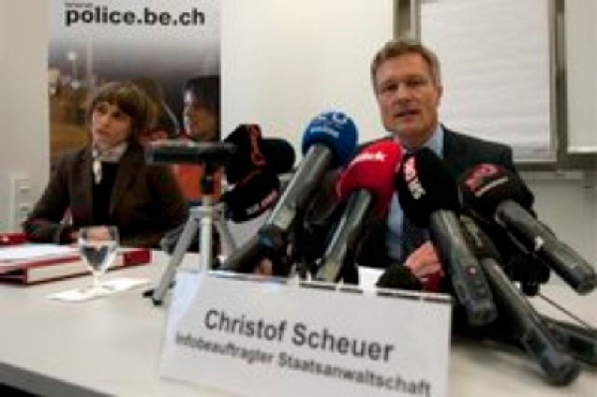 Christof Scheurer, spealer of the public prosecutor's office, right, speaks, while Gabriele Berger, the head of Bern police's special investigations unit, listens  at a press conference in Bern Tuesday, Feb. 1, 2011. A 54-year-old man has admitted sexually abusing more than 100 mentally disabled children and adults in care homes in Switzerland and Germany during almost three decades, in what Swiss police described Tuesday as an unprecedented case.  The abuse took place in nine different care homes where the unidentified man had worked as a therapist since 1982, police in the canton (state) of Bern said. The head of Bern police's special investigations unit, Gabriele Berger, told a news conference in Bern that the evidence against the man includes photos and hours of video recording the abuse.  (AP Photo/Keystone/Peter Schneider) (AP)