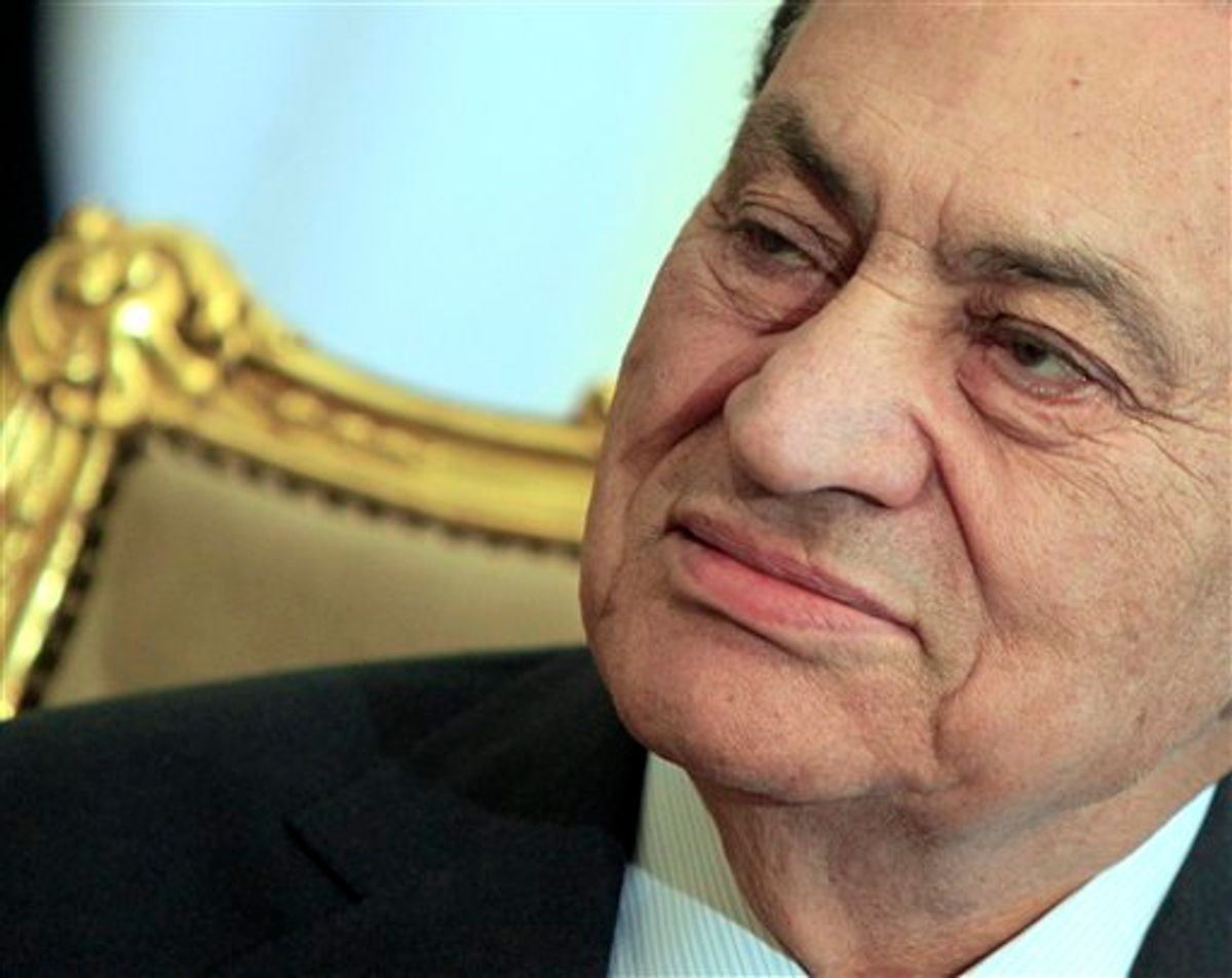 FILE - In this Feb. 8, 2011 file photo, Egyptian President Hosni Mubarak sits during his meeting with Emirates foreign minister, not pictured, at the Presidential palace in Cairo, Egypt. Egypt's vice president says Mubarak resigned on Friday, Feb. 11, 2011 as president and handed control to the military. (AP Photo/Amr Nabil, File)   (AP)