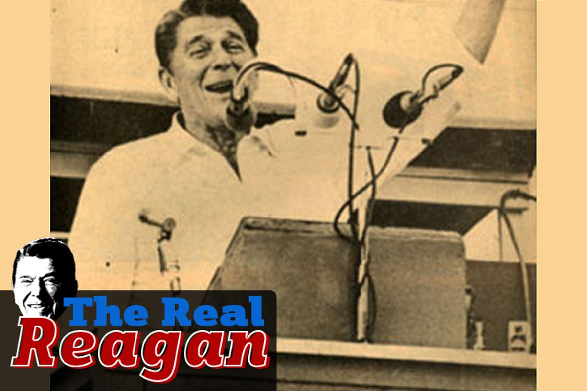 Candidate Ronald Reagan speaks at the Neshoba County Fair in Mississippi in 1980.