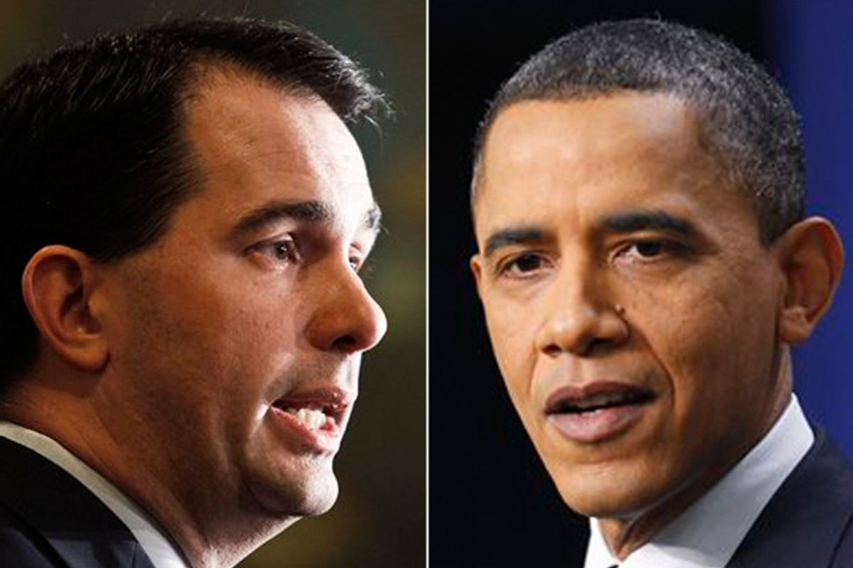Scott Walker and Barack Obama