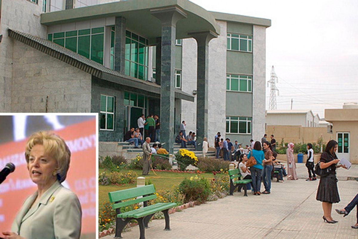 The American University of Iraq. Inset: Lynn Cheney.