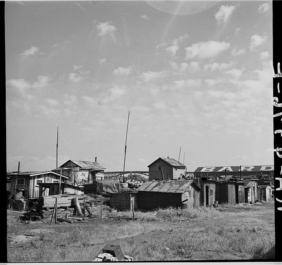 Squatters' shacks along the Willamette River, Portland, Oregon in 1936.