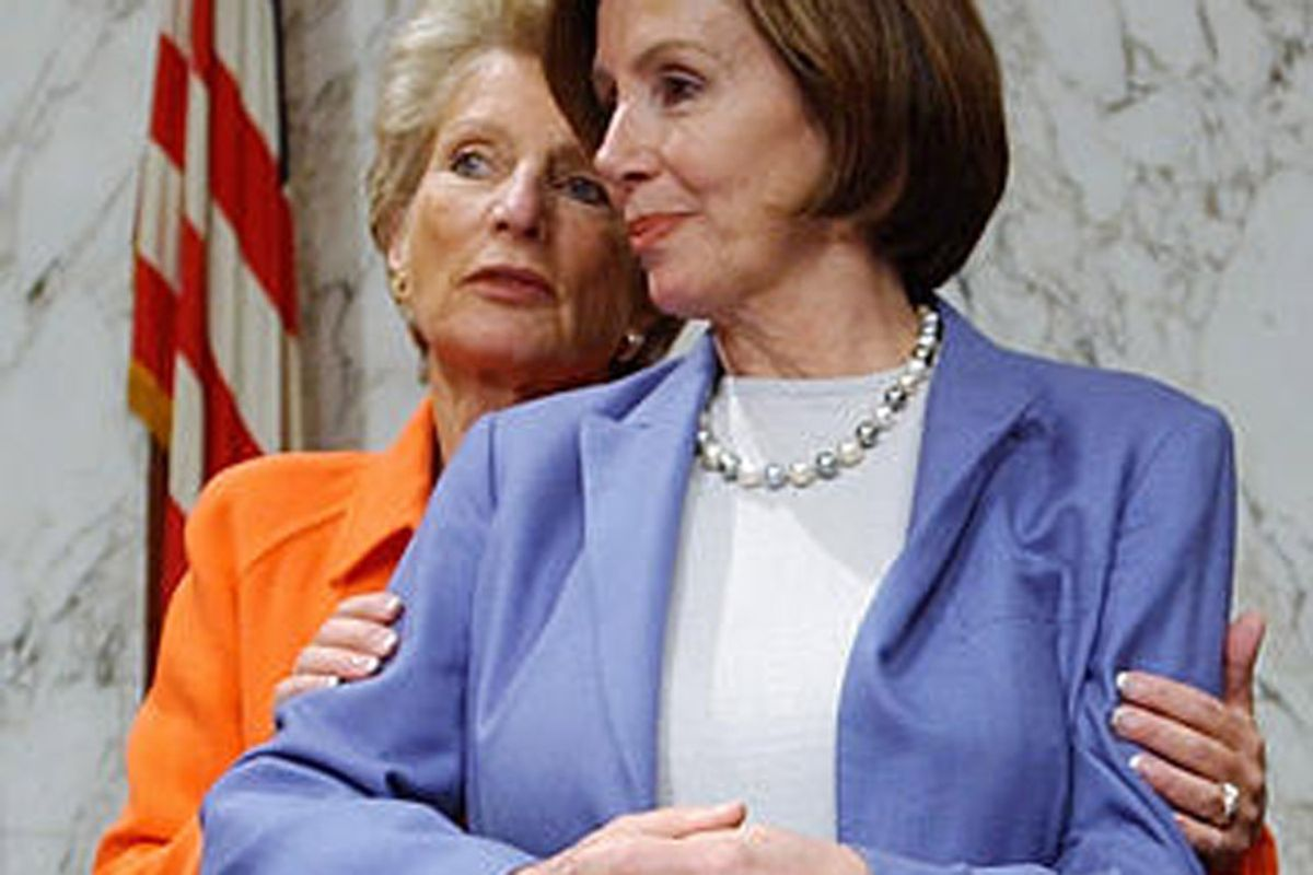 Rep. Jane Harman, D-Calif., left, and Rep. Nancy Pelosi, D-Calif., confer before the start of the House and Senate Select Intelligence committees' final hearing investigating events leading up to the Sept. 11 , Thursday, Oct. 17, 2002, on Capitol Hill, in Washington. (AP Photo/Ken Lambert) (Ken Lambert)