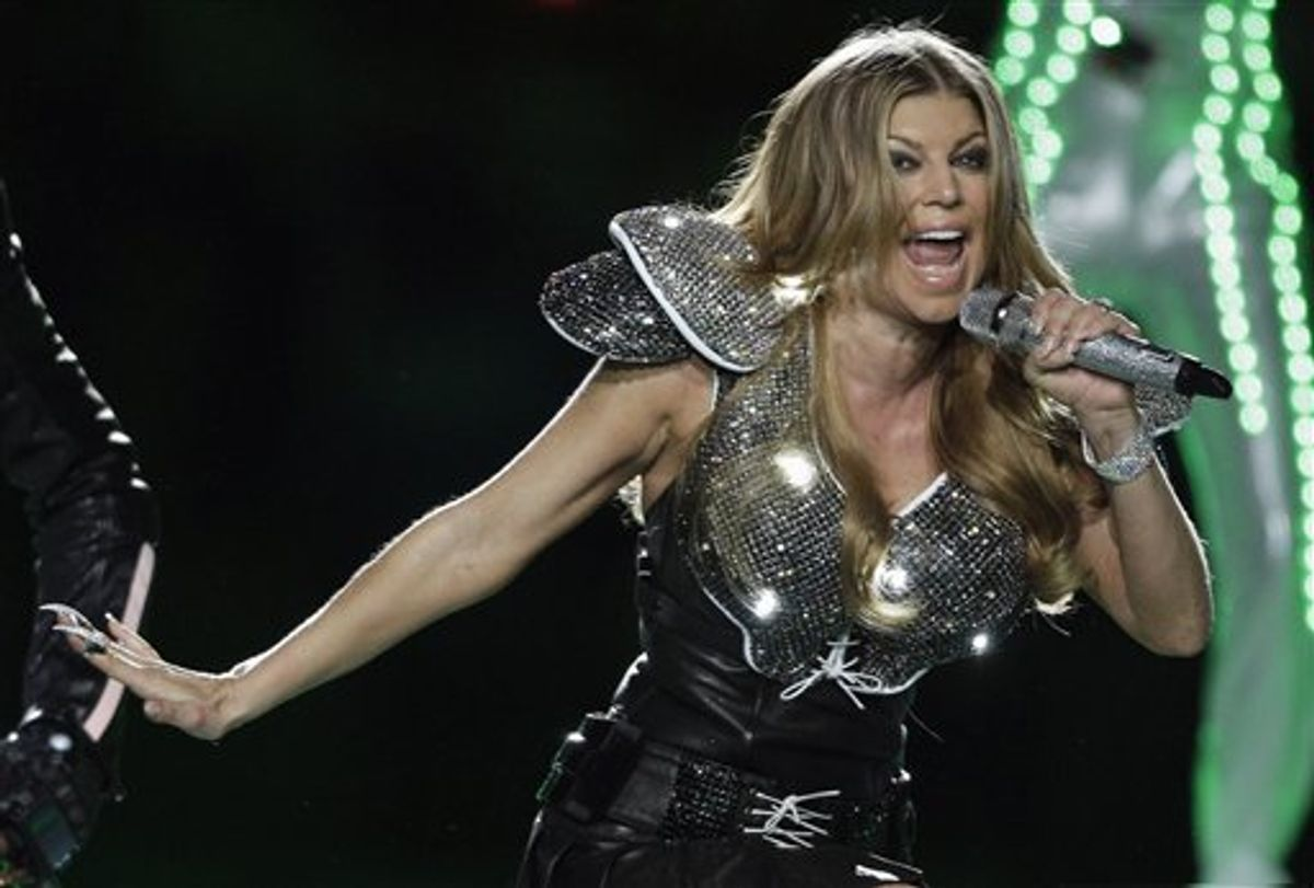 Fergie of the Black Eyed Peas performs at halftime of the NFL Super Bowl XLV football game Sunday, Feb. 6, 2011, in Arlington, Texas. (AP Photo/Charlie Krupa) (AP)