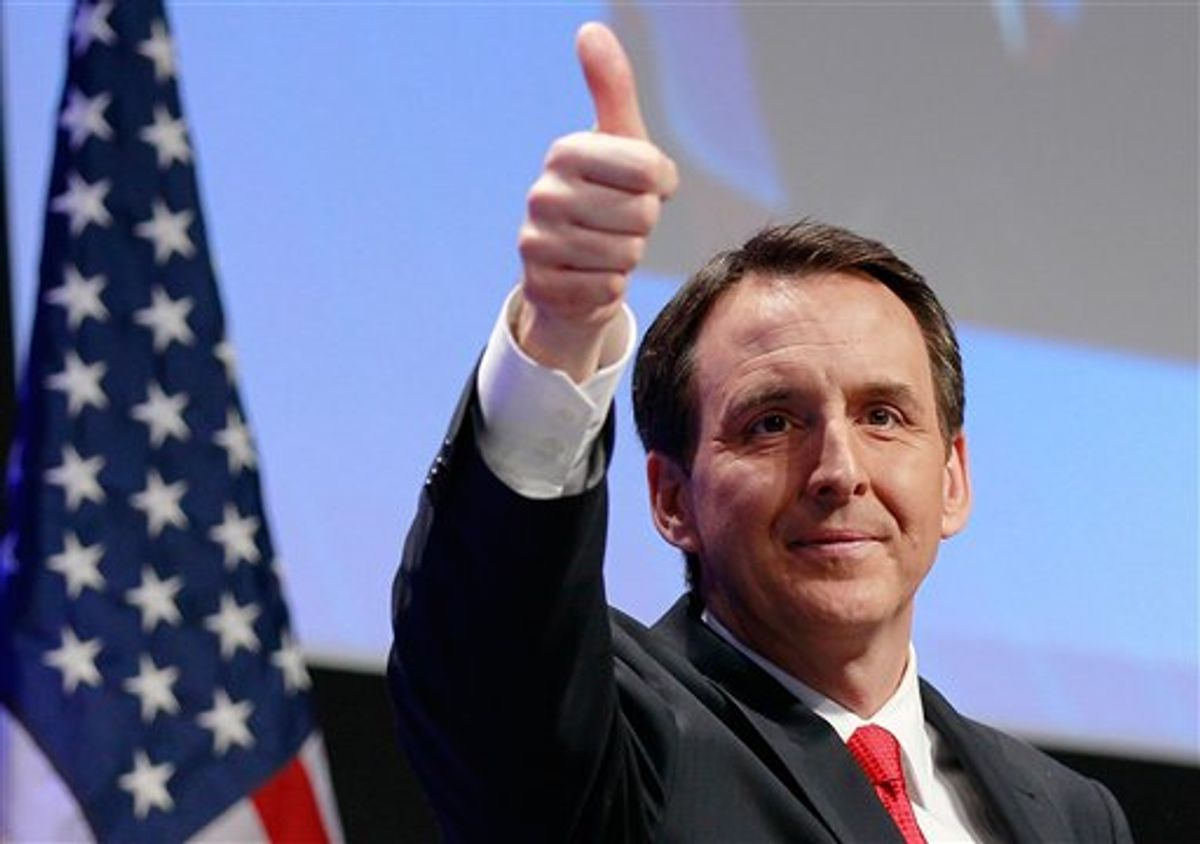 Former Minnesota Gov. Tim Pawlenty, gives thumbs up after speaking at the Conservative Political Action Conference (CPAC) in Washington, Friday, Feb. 11, 2011.(AP Photo/Alex Brandon)  (AP)