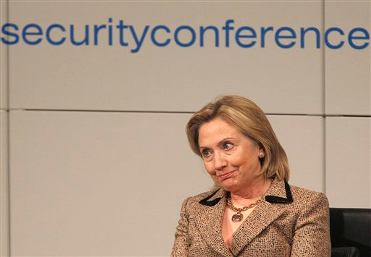 US Secretary of State Hillary Rodham Clinton  reacts at a panel discussion during the Conference on Security Policy in Munich, Germany, Saturday, Feb. 5, 2011.   (AP Photo/Frank Augstein) (AP)