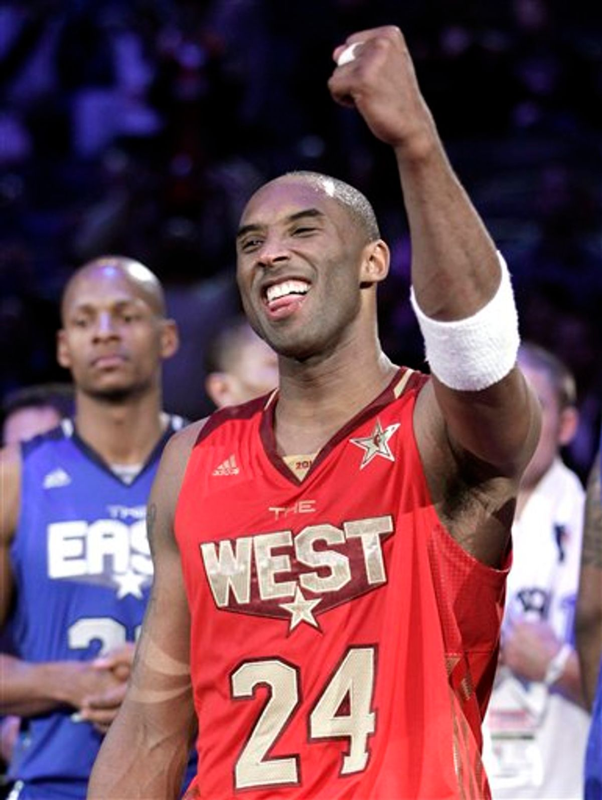 West's Kobe Bryant celebrates his team's 148-143 win against the East All-Star team after the NBA basketball All-Star Game in Los Angeles, Sunday, Feb. 20, 2011. (AP Photo/Jae C. Hong)  (AP)