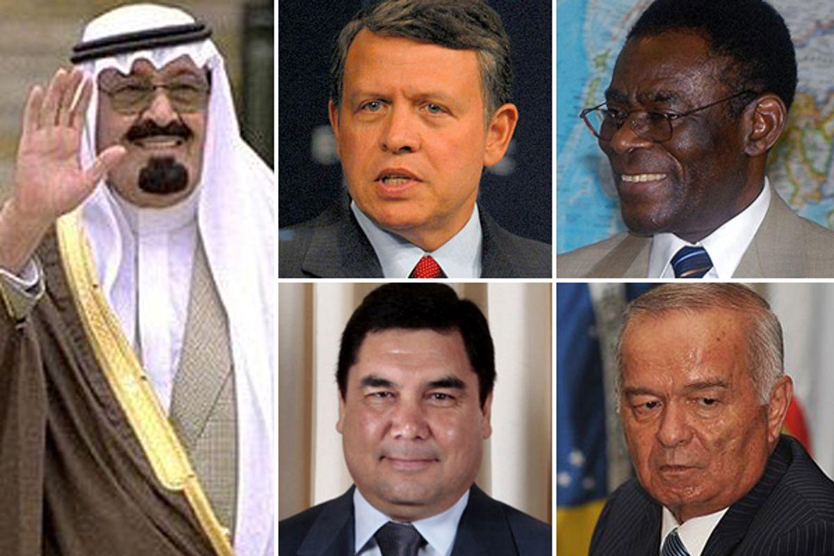 Clockwise, from left: <a href='http://en.wikipedia.org/wiki/File:Abdullah_of_Saudi_Arabia.jpg'>King Abdullah of Saudi Arabia</a>, <a href='http://en.wikipedia.org/wiki/File:King_Abdullah_portrait.jpg'>King Abdullah II of Jordan</a>,  <a href='http://en.wikipedia.org/wiki/File:Teodoro_Obiang_detail,_1650FRP051.jpg'>Teodoro Obiang Nguema Mbasogo of Equatorial Guinea</a>, <a href='http://en.wikipedia.org/wiki/File:Islam_Karimov_(2009).jpg'>Islam Karimov of Uzbekistan</a>, <a href='http://en.wikipedia.org/wiki/File:Gurbanguly_Berdimuhammedov.jpg'>Kurbanguly Berdymukhamedov of Turkmenistan</a>