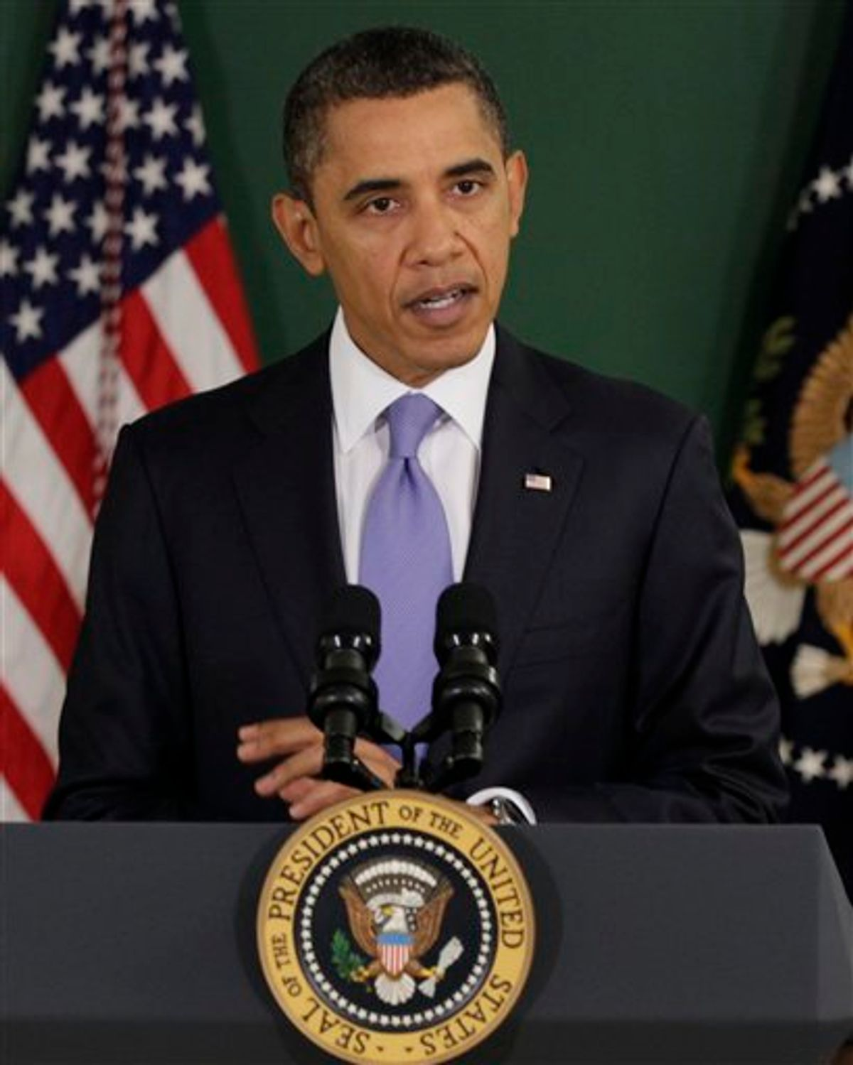 President Barack Obama speaks at Parkville Middle School and Center of Technology, in Parkville, Md., Monday, Feb., 14, 2011. (AP Photo/Carolyn Kaster) (AP)