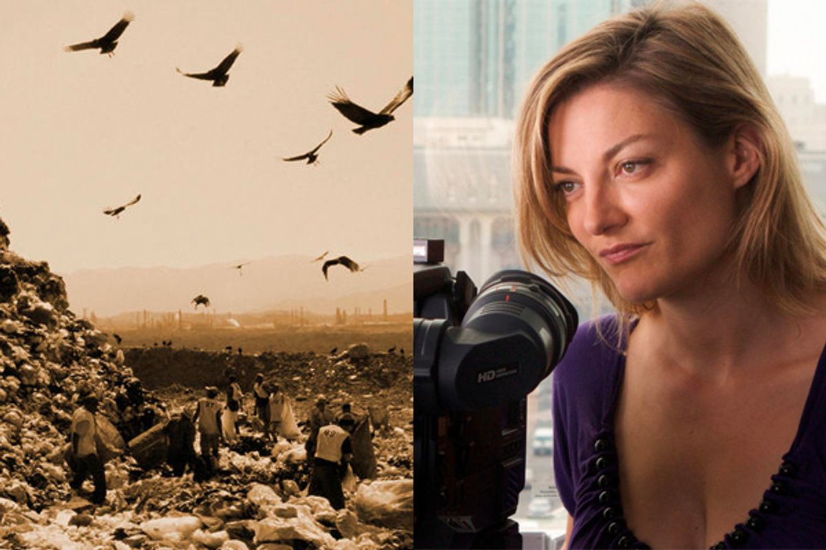 """Lucy Walker and a still from """"Waste Land"""""""