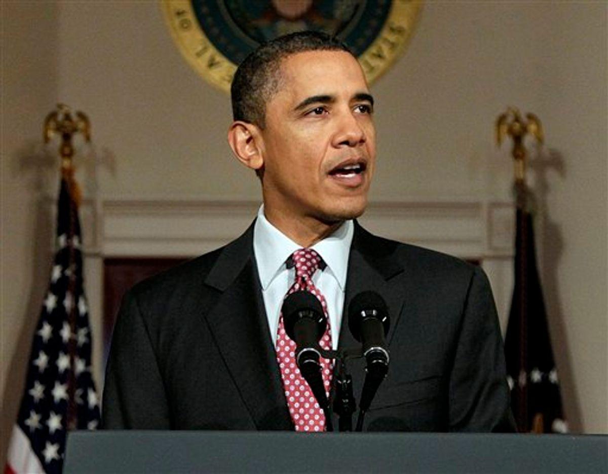 President Barack Obama makes a statement on the resignation of Egypt's President Hosni Mubarak in the Grand Foyer at the White House in Washington, Friday, Feb. 11, 2011. (AP Photo/Carolyn Kaster) (AP)