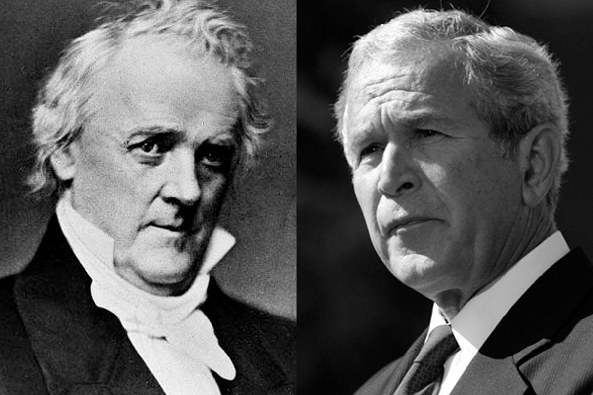 Former presidents Buchanan and Bush