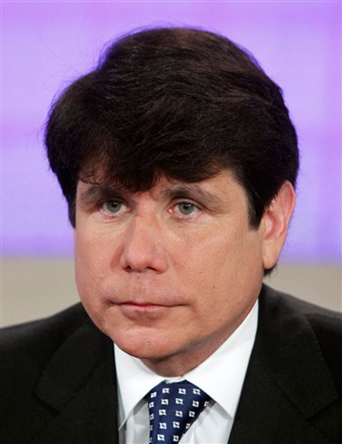 """FILE - This file photo provided by NBC shows former Illinois governor Rod Blagojevich on NBC's """"Today"""" show, in New York, on Friday, Aug. 20, 2010. Blagojevich has asked a judge to cancel his spring retrial and immediately sentence him instead on the sole conviction from his first trial. The request comes in a motion filed in U.S. District Court in Chicago early Wednesday March 9, 2011. (AP Photo/NBC, Peter Kramer, File) NO SALES (AP)"""