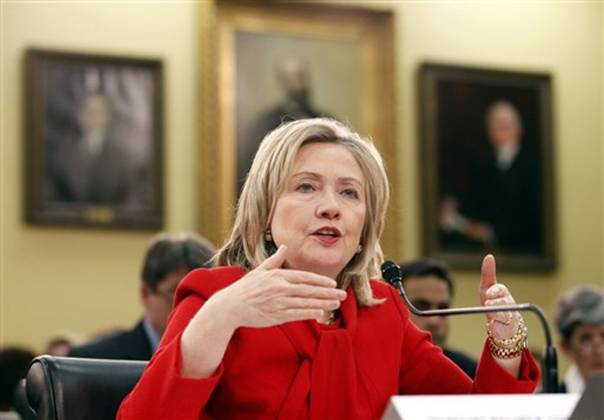 Secretary of State Hillary Rodham Clinton testifies during the Foreign Operations, and Related Programs Budget hearing at Capitol Hill in Washington on Thursday March 10, 2011.(AP Photo/Jose Luis Magana) (AP)