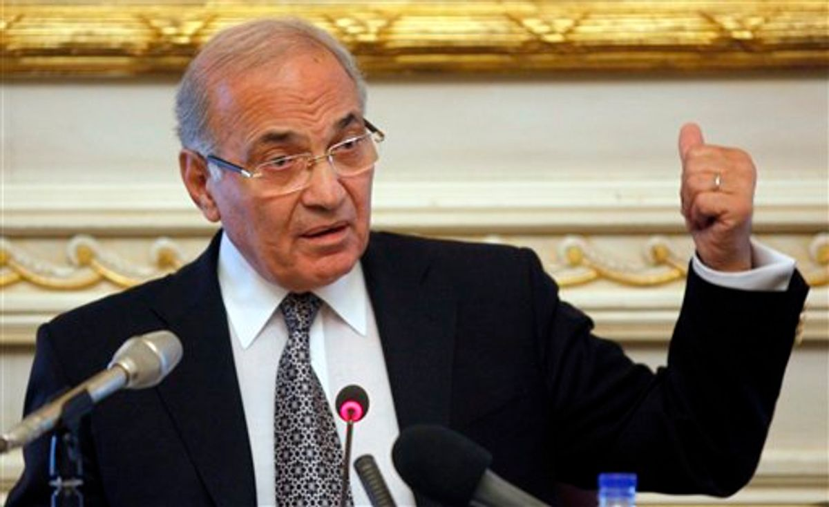 FILE - In this Feb. 3, 2011, file photo Egypt's recently appointed Prime Minister Ahmed Shafiq speaks to the media at the Ministry of the Interior in Cairo, Egypt. Egypt's military rulers say Thursday March 3, 2011 Egyptian Prime Minister Ahmed Shafiq has resigned. Shafiq, a former air force officer, was named prime minister by ousted president Hosni Mubarak shortly after the outbreak on Jan. 25 of massive anti-government protests. (AP Photo/Victoria Hazou, File) (Associated Press)