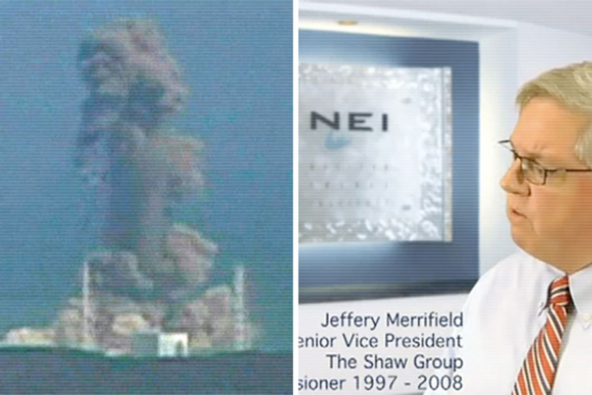In this image made off Japan's NTV/NNN Japan television footage, smoke ascends from the Fukushima Daiichi nuclear plant's Unit 3 in Okumamachi, Fukushima Prefecture, northern Japan, March 14, 2011. Right: Jeff Merrifield