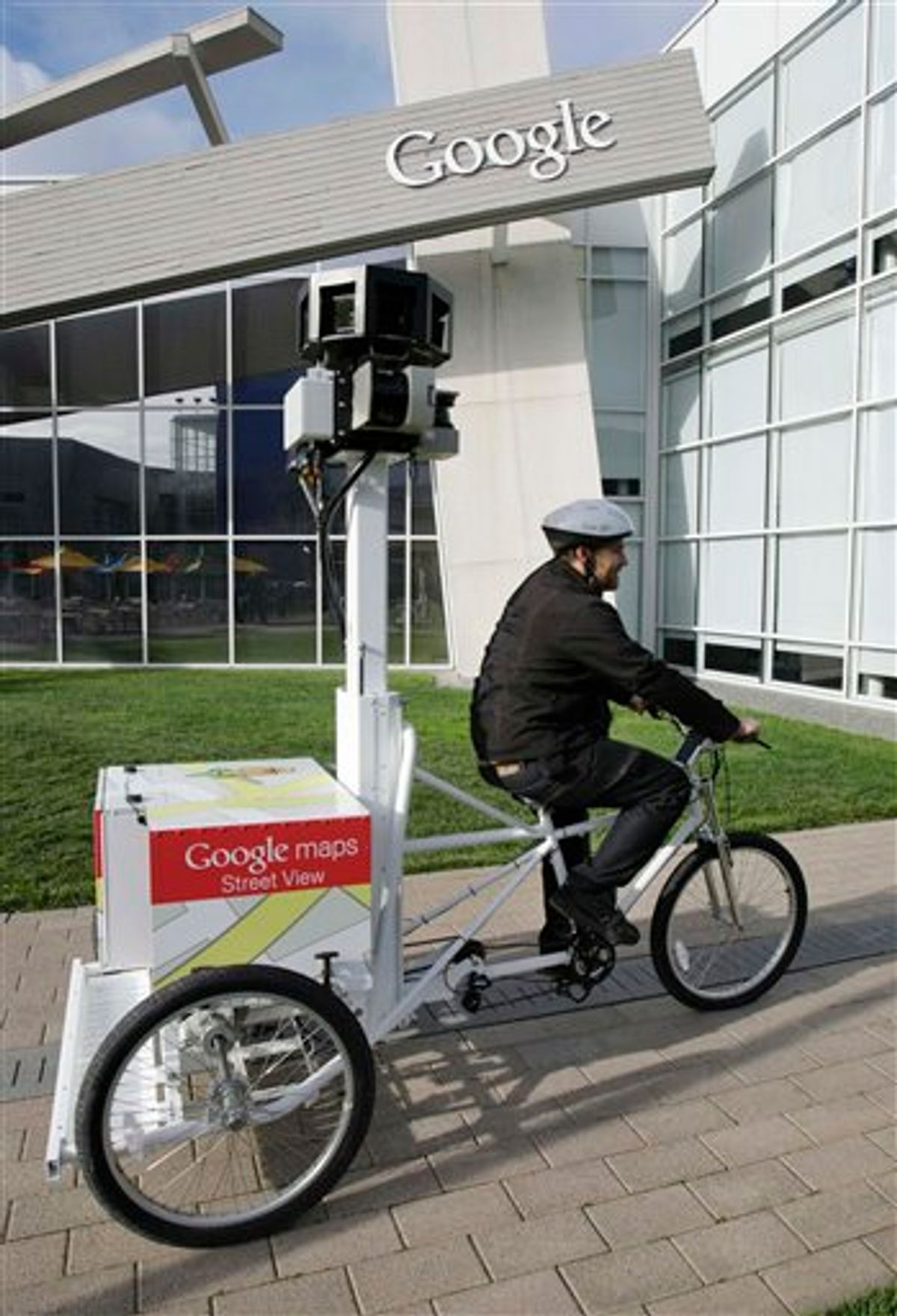 In this photo taken March 7, 2011, Matt Potter of Google pedals Goggle's new Street View Tricycle at Google headquarters in Mountain View, Calif. France's privacy watchdog has handed down its largest fine ever against Google Monday, March 21, 2011, for improperly gathering and storing potentially sensitive data from Wi-Fi networks for its Street View application. (AP Photo/Paul Sakuma) (AP)