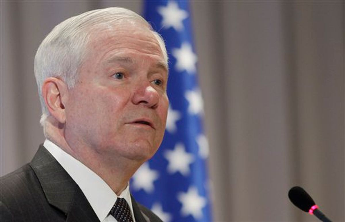 U.S. Defense Secretary Robert Gates addresses military officers at the Naval Museum in St. Petersburg, Russia, Monday, March 21, 2011. (AP Photo/Charles Dharapak, Pool) (AP)