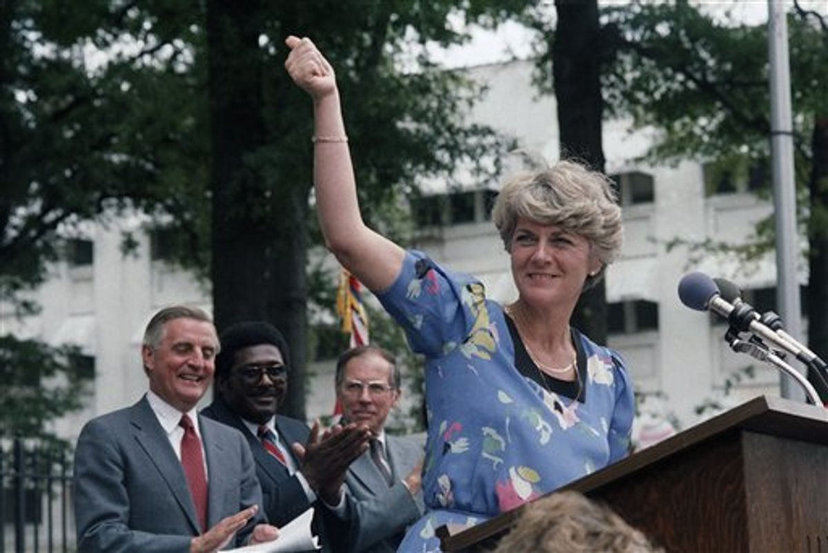 FILE - In this Wednesday, Aug. 1, 1984 file picture, Democratic Vice Presidential candidate Geraldine Ferraro gives the thumbs-up sign to a crowd of supporters in downtown Jackson, Miss. as Walter Mondale and Ferraro kicked off their 1984 campaign in this Southern city. Behind Ferraro are Mondale, state Rep. Robert Clark and former Gov. William Winter. The first woman to run for U.S. vice president on a major party ticket has died. Geraldine Ferraro was 75. A family friend said Ferraro, who was diagnosed with blood cancer in 1998, died Saturday, March 26, 2011 at Massachusetts General Hospital. (AP Photo/Ron Frehm, File) (AP)