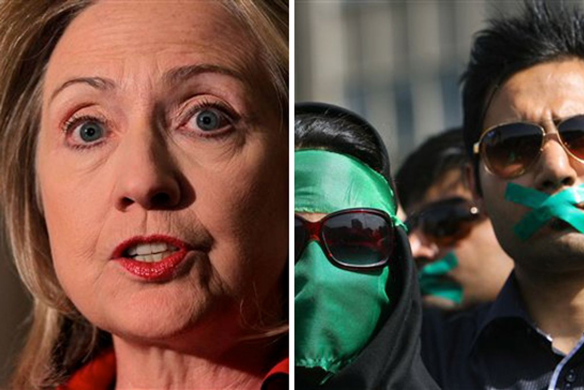 Secretary of State Hillary Clinton. Right: supporters of opposition leader Mir Hossein Mousavi listen to his speech at a demonstration in Tehran on Thursday June, 18, 2009.