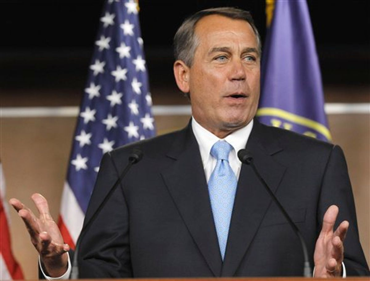 House Speaker John Boehner of Ohio gestures during a news conference on Capitol Hill in Washington, Wednesday, March 2, 2011. (AP Photo/Alex Brandon) (AP)