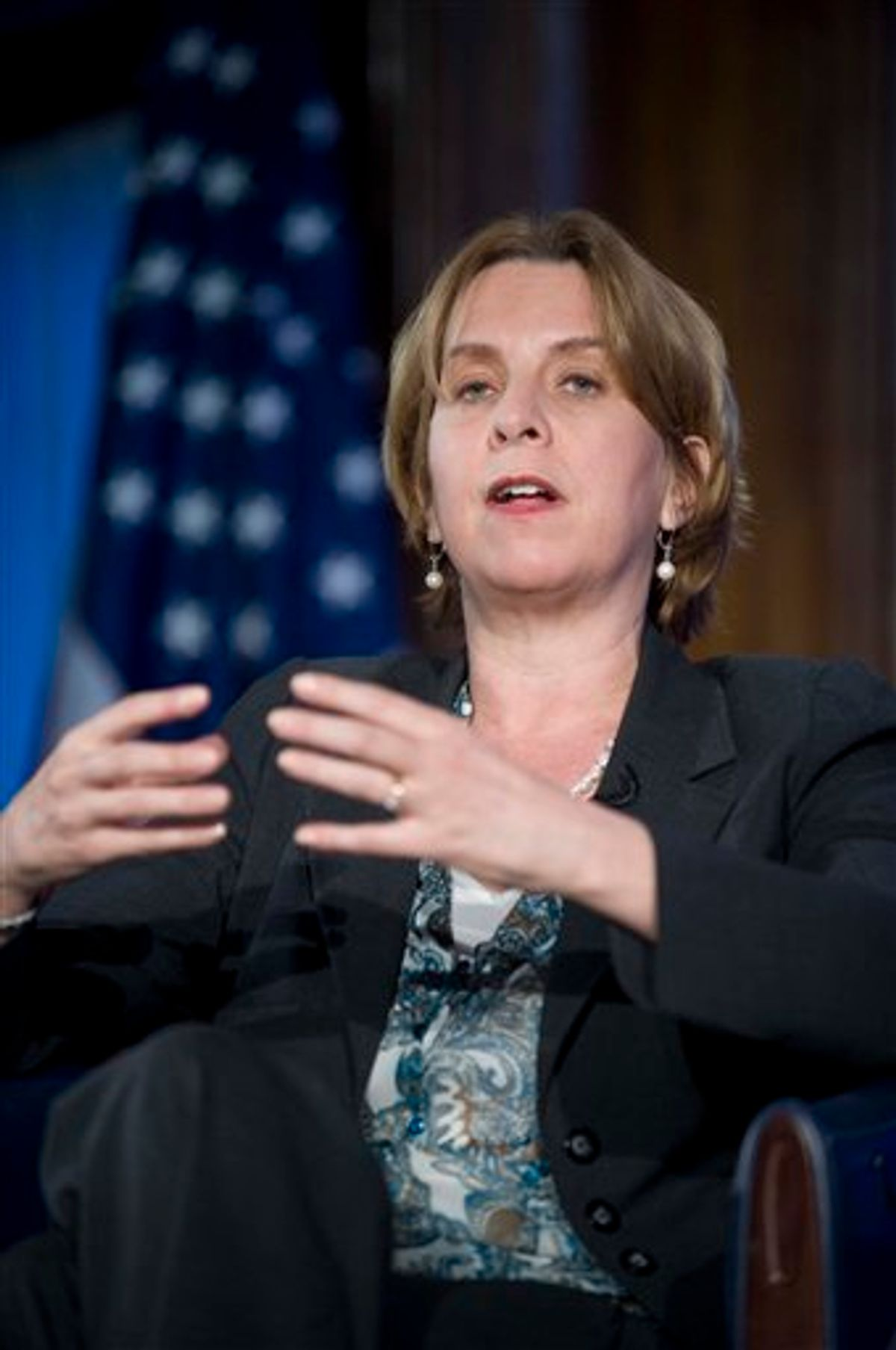 ** FILE ** In this March 24, 2009 file photo, President and CEO of NPR Vivian Schiller appears on The Kalb Report at the National Press Club in Washington.  NPR says CEO Vivian Schiller resigns in aftermath of fundraiser's remarks on hidden video.  (AP Photo/Kevin Wolf)   (AP)