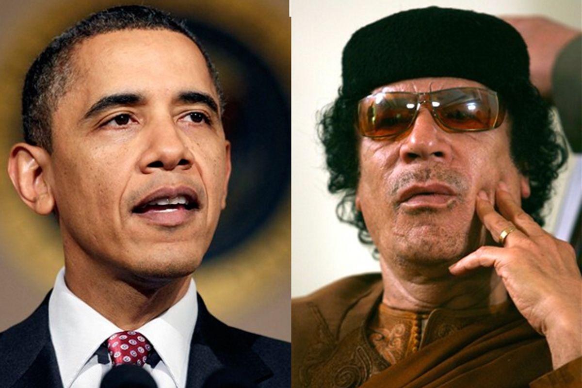 President Barack Obama and Moammar Gadhafi