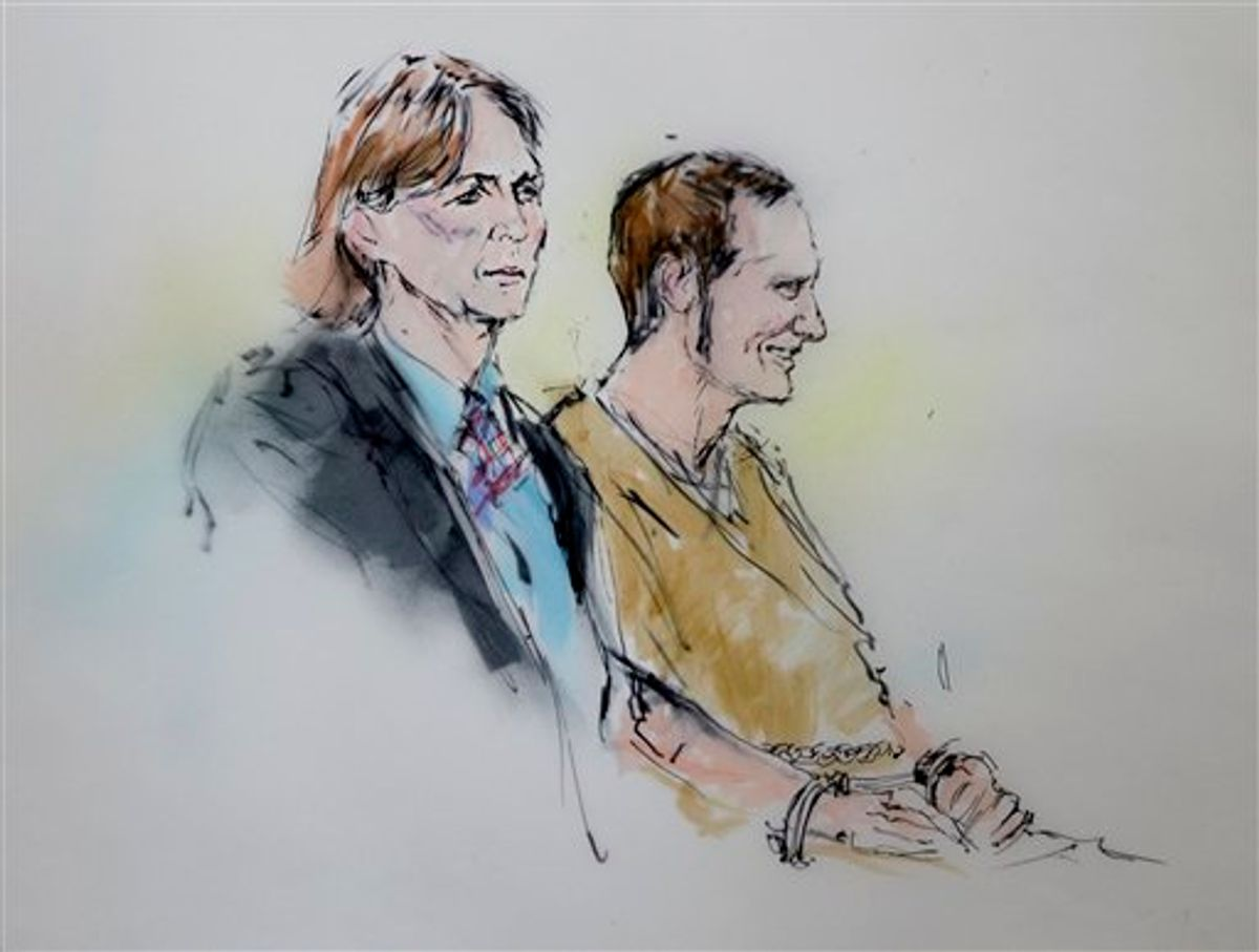 Attorney Judy Clark and defendant Jared Loughner stand before the judge in federal court Wednesday, March 9, 2011 in Tucson, Ariz. as shown in this artists' rendering. Suspected shooter Jared Loughner, who is charged with shooting U.S. Rep. Garbrielle Giffords, D-Ariz., and 18 others, was in court for a status hearing to consider whether to order the suspect in the Tucscon, Ariz., shooting rampage to give handwriting samples to compare with documents seized in a search of his home.  (AP Photo/Bill Robles)   (AP)