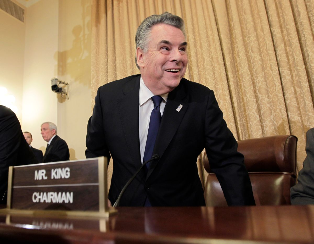 """Rep. Peter King, R-N.Y., chairman of the House Homeland Security Committee, arrives to begin hearings on Capitol Hill in Washington, Thursday, March 10, 2011.  Under heightened security, King opened hearings into Islamic radicalization in America, dismissing what he called the """"rage and hysteria"""" surrounding the hearings. (AP Photo/J. Scott Applewhite)             (Associated Press)"""
