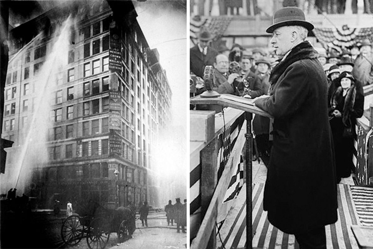 The Triangle Shirtwaist Factory fire of March 25th, 1911. Right: Governor Al Smith during his 1928 campaign for President.