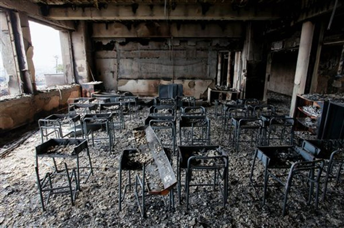 In this Sunday, March 20, 2011 photo, a classroom burned by a fire is seen in the March 11 earthquake and tsunami-destroyed city of  Ishinomaki, northern Japan.(AP Photo/Mainichi Shimbun, Takashi Morita) JAPAN OUT, NO SALES, MANDATORY CREDIT (AP)