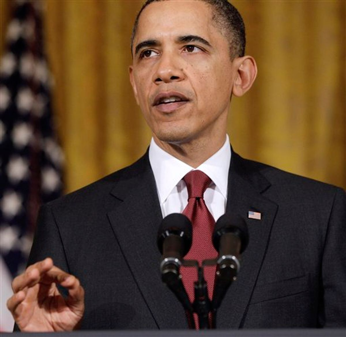President Barack Obama makes a statement on Libya, Friday, March 18, 2011, in the East Room of the White House in Washington. (AP Photo) (AP)
