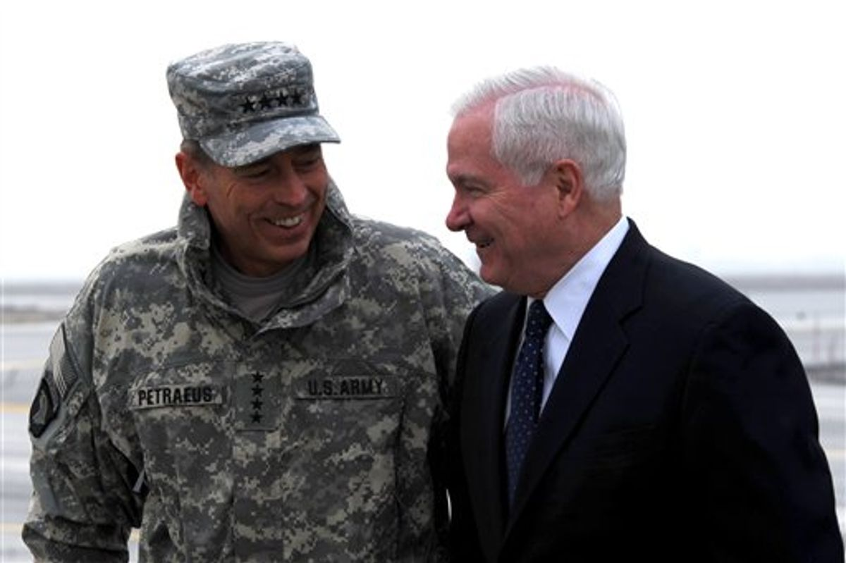 Defense Secretary Robert M. Gates, right, talks with Gen. David Petreaus upon his arrival in Kabul, Afghanistan, Monday March 7, 2011.  (AP Photo/Defense Department/Cherie Cullen)  (AP)