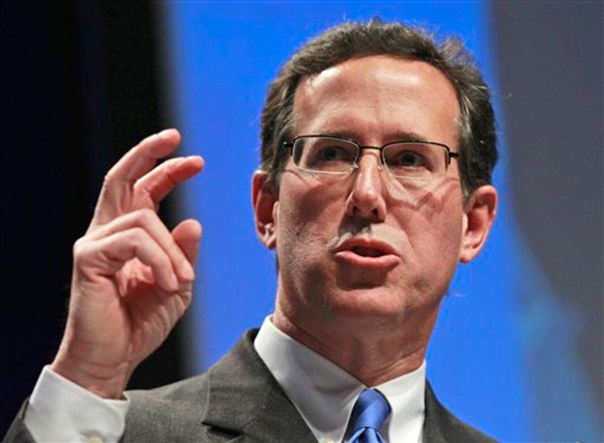 Former Pennsylvania Sen. Rick Santorum addresses the Conservative Political Action Conference (CPAC) in Washington, Thursday, Feb. 10, 2011. (AP Photo/Alex Brandon) (AP)