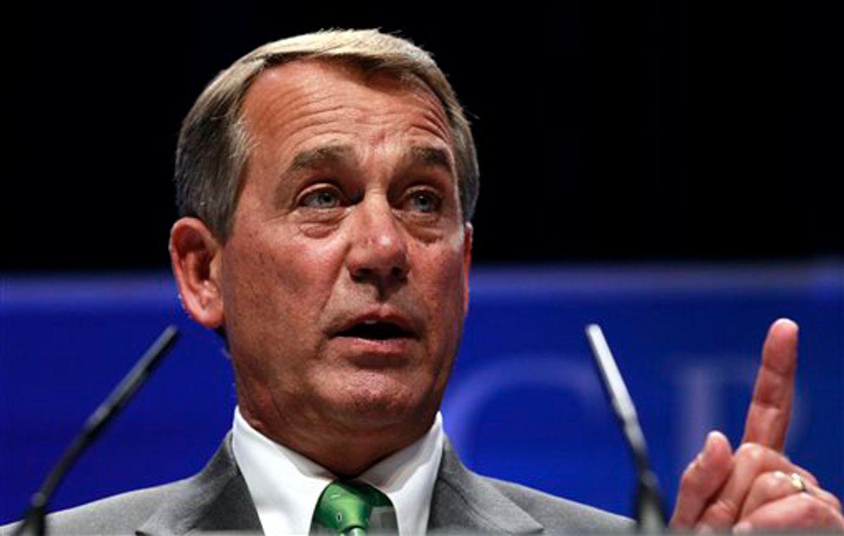 House Speaker John Boehner of Ohio speaks at the Conservative Political Action Conference (CPAC) in Washington, Thursday, Feb. 10, 2011.(AP Photo/Alex Brandon) (Alex Brandon)