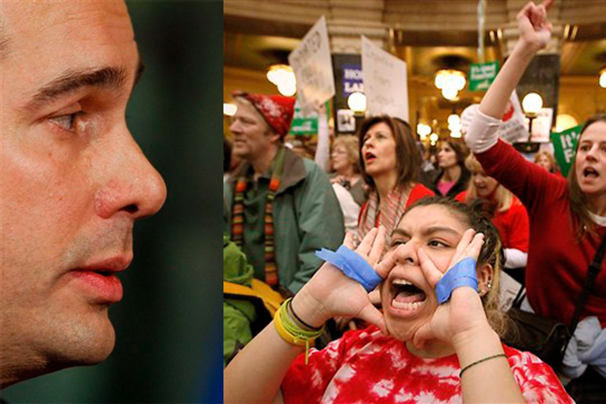 Left: Wisc. Gov. Scott Walker. Right: Jessie Brown shouts protest slogans as Kathy Winn, behind, joins in during rallies at the Wisconsin State Capitol