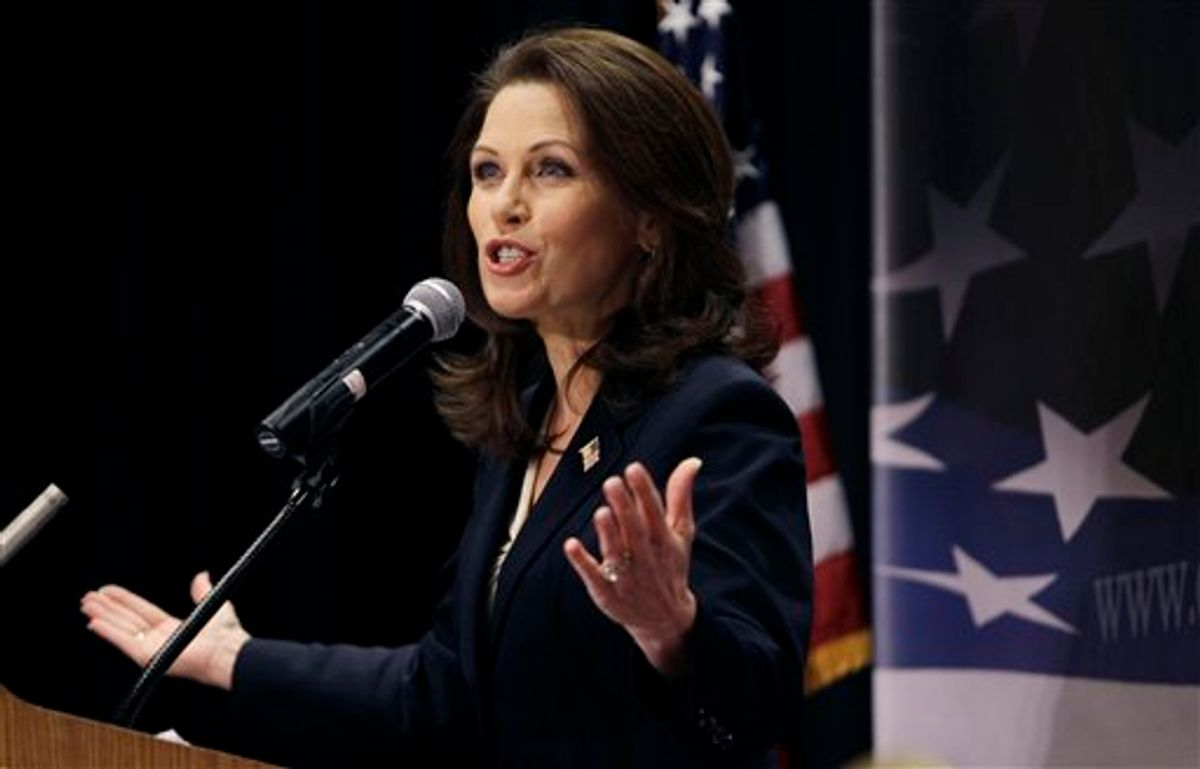 U.S. Rep. Michele Bachmann, R-Minn., speaks during the Conservative Principles Conference hosted by U.S. Rep. Steve King, R-Iowa, Saturday, March 26, 2011, in Des Moines, Iowa. (AP Photo/Charlie Neibergall) (AP)