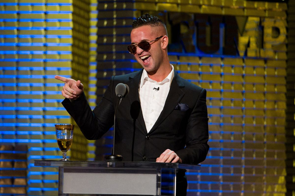 """Mike """"The Situation"""" Sorrentino appears onstage at the Comedy Central Roast of Donald Trump in New York, Wednesday, March 9, 2011. (AP Photo/Charles Sykes) (Charles Sykes)"""