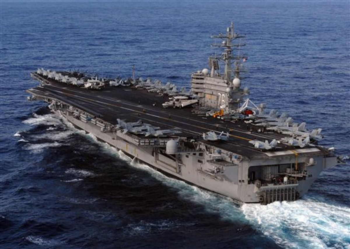 This image provided by the U.S. Navy shows the Nimitz-class aircraft carrier, USS Ronald Reagan underway in the Pacific Ocean Saturday March 12, 2011 enroute to Japan to render humanitarian assistance and disaster relief. (AP Photo/US Navy - Dylan McCord) (AP)