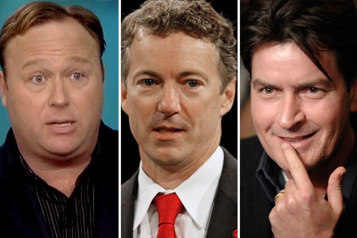 Alex Jones, Rand Paul, Charlie Sheen