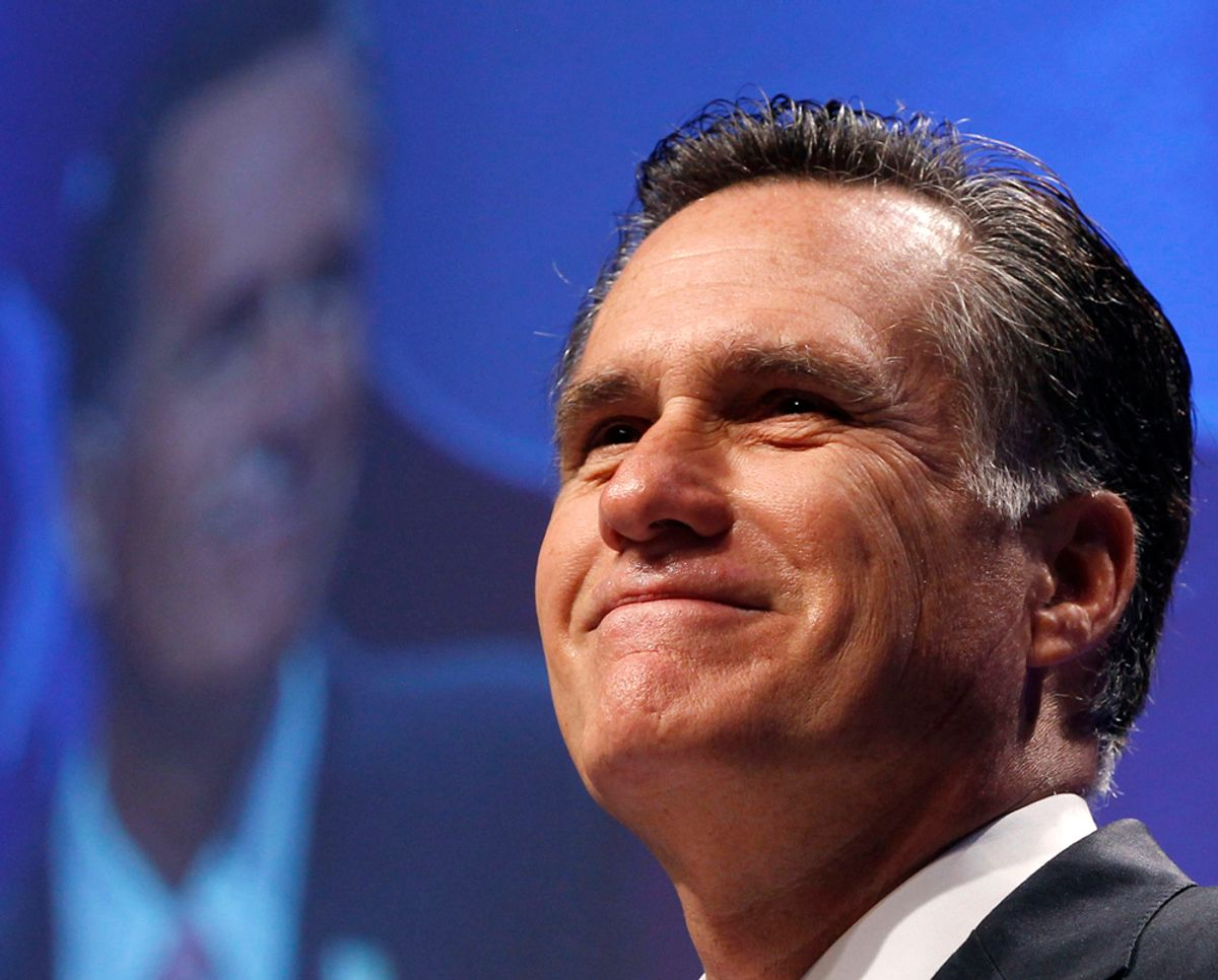 Former Massachusetts Gov. Mitt Romney smiles during the 38th annual Conservative Political Action Conference meeting at the Marriott Wardman Park Hotel in Washington, February 11, 2011. The CPAC is a project of the American Conservative Union Foundation.           REUTERS/Larry Downing     (UNITED STATES - Tags: POLITICS)  (© Larry Downing / Reuters)